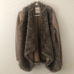 Zara faux fur drape jacket